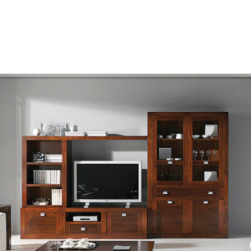 Muebles de salon con vitrina y mueble tv nogal tv for Muebles nogal americano