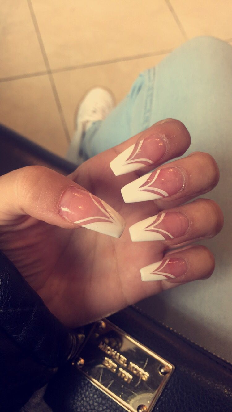 French Design Long Acrylic Nails Coffin Shape My Nails Nails
