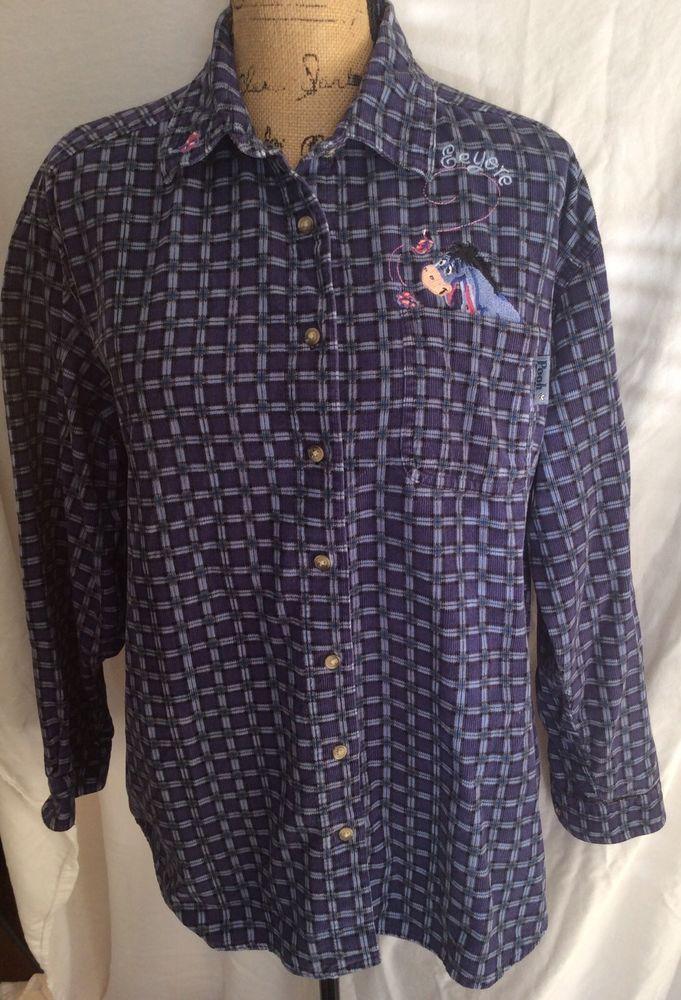 Disney Pooh Eeyore Blue Button Down Long Sleeve Top shirt corduroy size large  #Disney #ButtonDownShirt #Casual