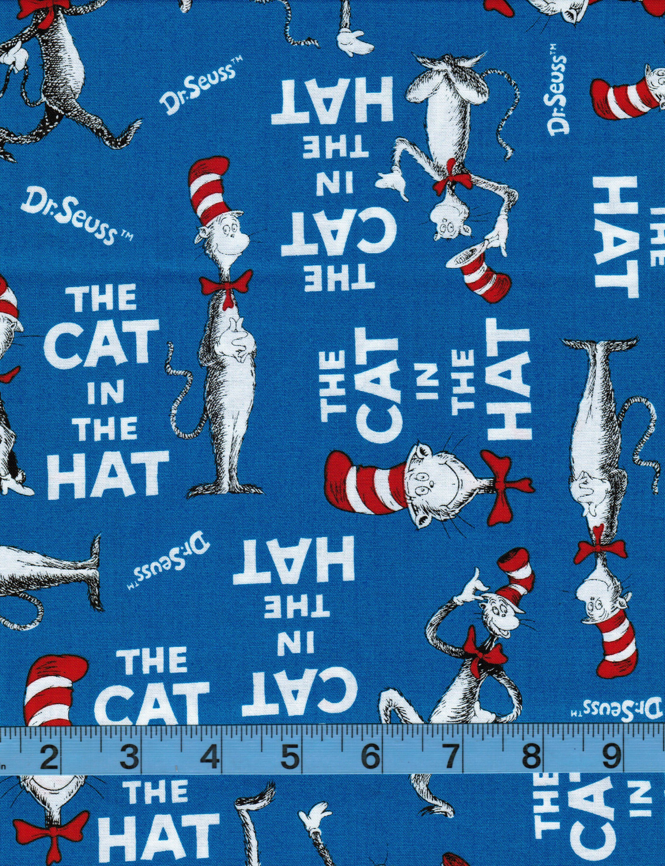 The Cat in the Hat, 100 Cotton Fabric by the Yard