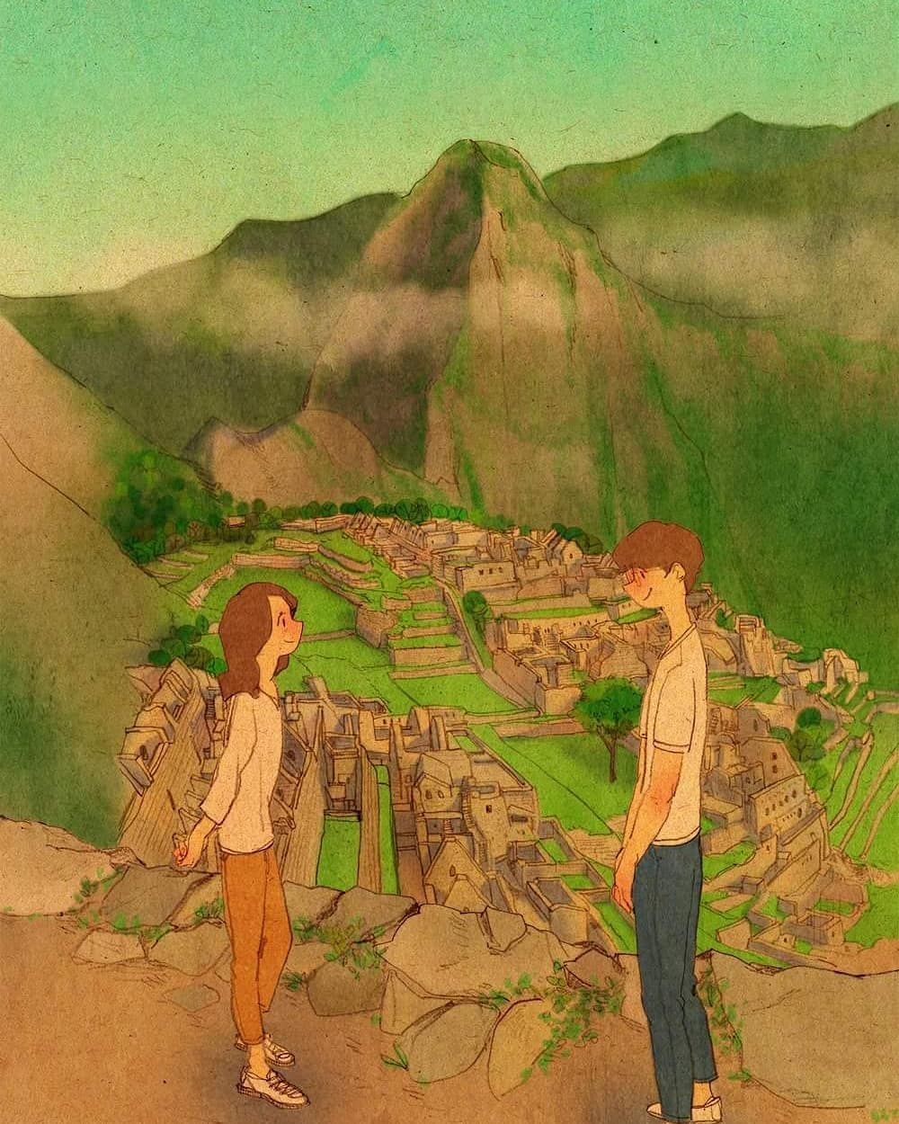 Mulpix Wherever We Go Machu Picchu Peru Loveis Whereverwego Puuung Machupicchu Peru Relationship Puuung Love Is Love Art Cute Couple Drawings
