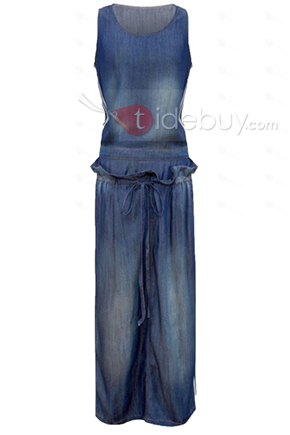 Round, Dresses , $27.99, Cool Falbala Hem Round Neckline Sleeveless Long Denim Dress