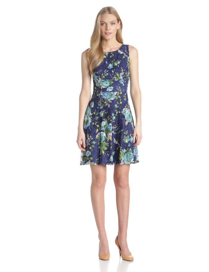 Gabby Skye Womens Sleeveless Floral Lace Dress Casual