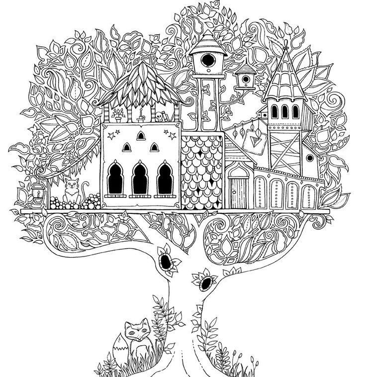 Casa De Arvore Dificil Com Imagens Adult Coloring Pages
