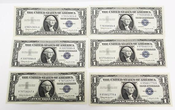 1957-B 1 One Dollar Bill Blue Seal Silver Certificate Currency Note ...