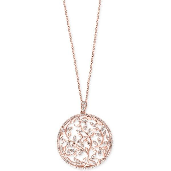 Effy Diamond Vine Pendant Necklace 9 10 Ct T W In 14k Rose Gold Rose Gold Pendant Necklace Pink Gold Necklace Rose Gold Diamond Necklace