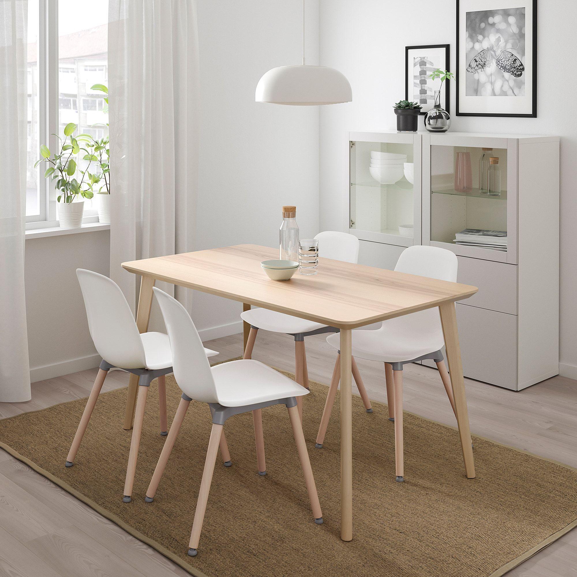 Lisabo Leifarne Tisch Und 4 Stuhle Eschenfurnier Weiss Ikea Osterreich Ikea Lisabo Ikea Esstisch Ikea Tisch