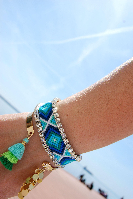Blue aztec friendship bracelet