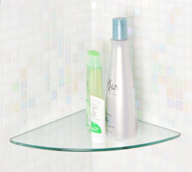 "Amazon Glass Corner Shelf 10x10 Curve 1 4"" Home & Kitchen"