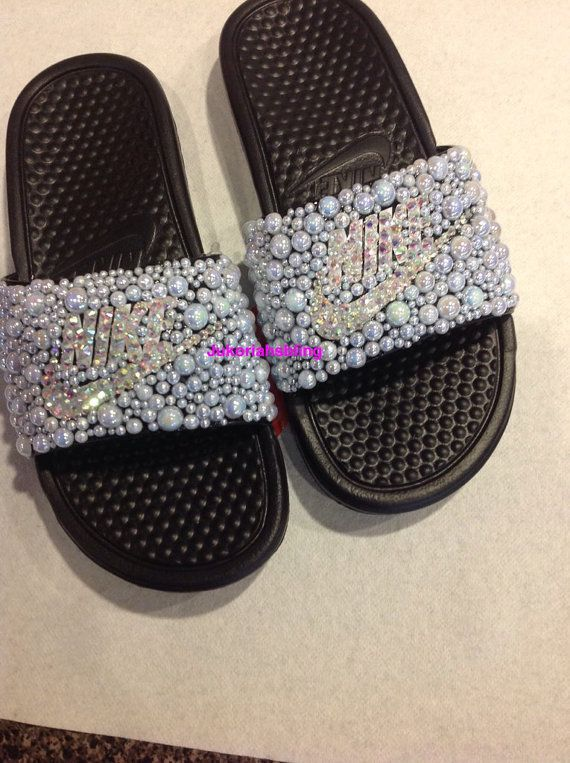 Bling nike slides nike shoes accessories by Jukoriahsbling on Etsy