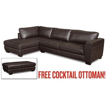 American Signature Furniture Ciera Leather 2 Pc Sectional Plus Free Ottoman 699 00