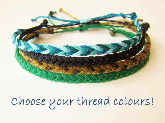 Custom Color Mens Friendship Bracelet Waxed String Adjule Guys Waterproof Braided Wax Coated Polyester Thread Surfer