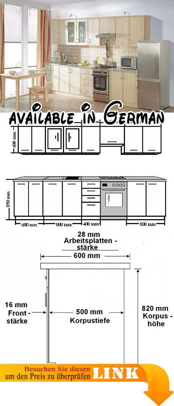 B008MUQKEU  Küche Sydney Ahorn 310cm Küchenzeile / Küchenblock