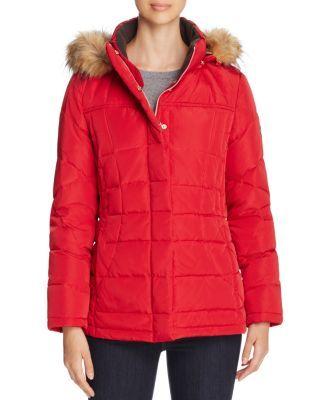 CALVIN KLEIN Trim Hooded Puffer Coat. #calvinklein #cloth #coat