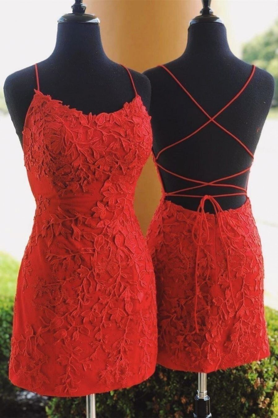 straps tight short red lace homecoming dresses in 2020