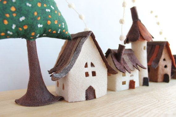 Miniature felt houses with tree Home decor. Textil art. by Intres I think I could make something similar for Christmas.