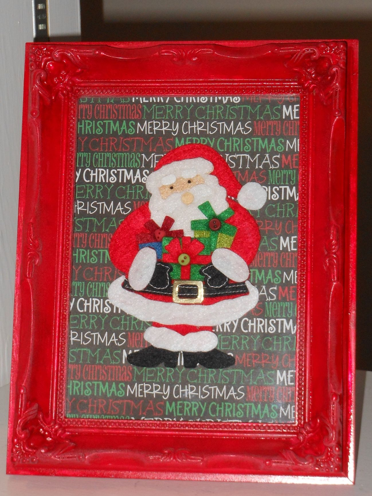 Cute And Easy Holiday Decoration Old Frame Painted Red, Scrapbook