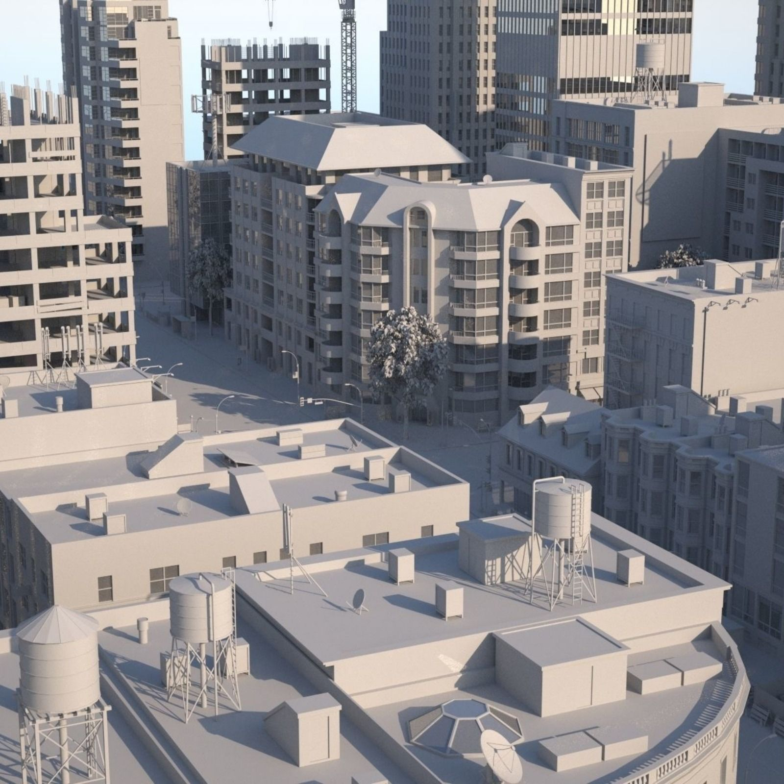Highly Detailed Low-poly 3d Modular City Containing