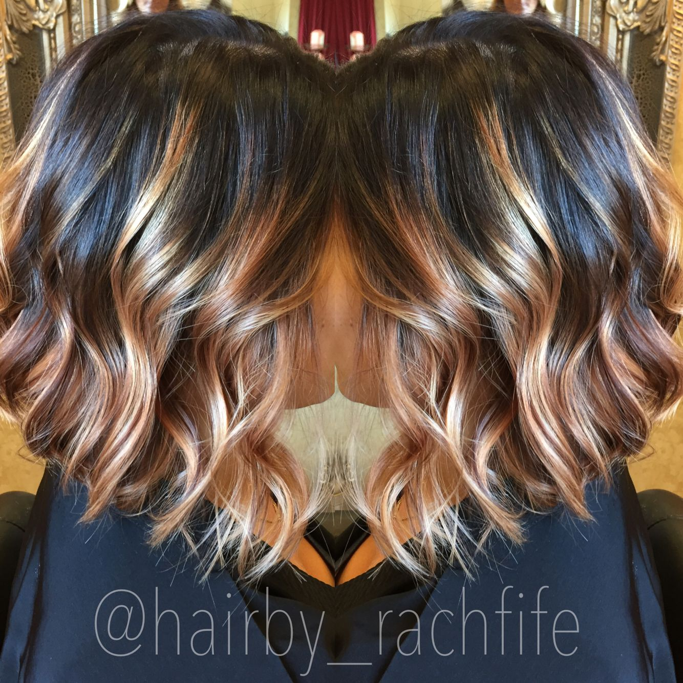 Dark Stretched Root With Blonde Balayage With A Long Bob