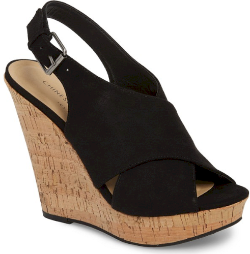 Chinese Laundry Myya Slingback Wedge Sandal In Black Gorgeously