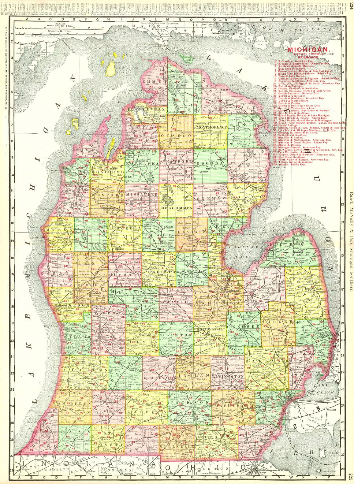 Rand Mcnally Co S New Business Atlas Map Of Michigan Michigan