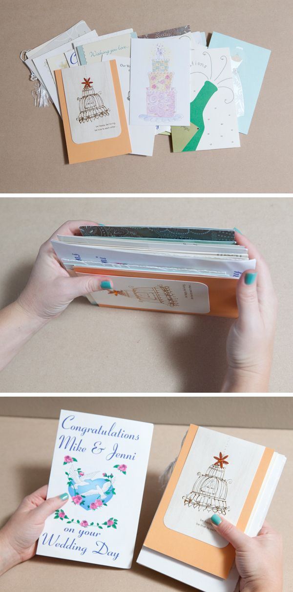 How to diy an adorable album to save special greeting cards make a book out of cards given to you this would be great for christmas new baby or wedding cards m4hsunfo