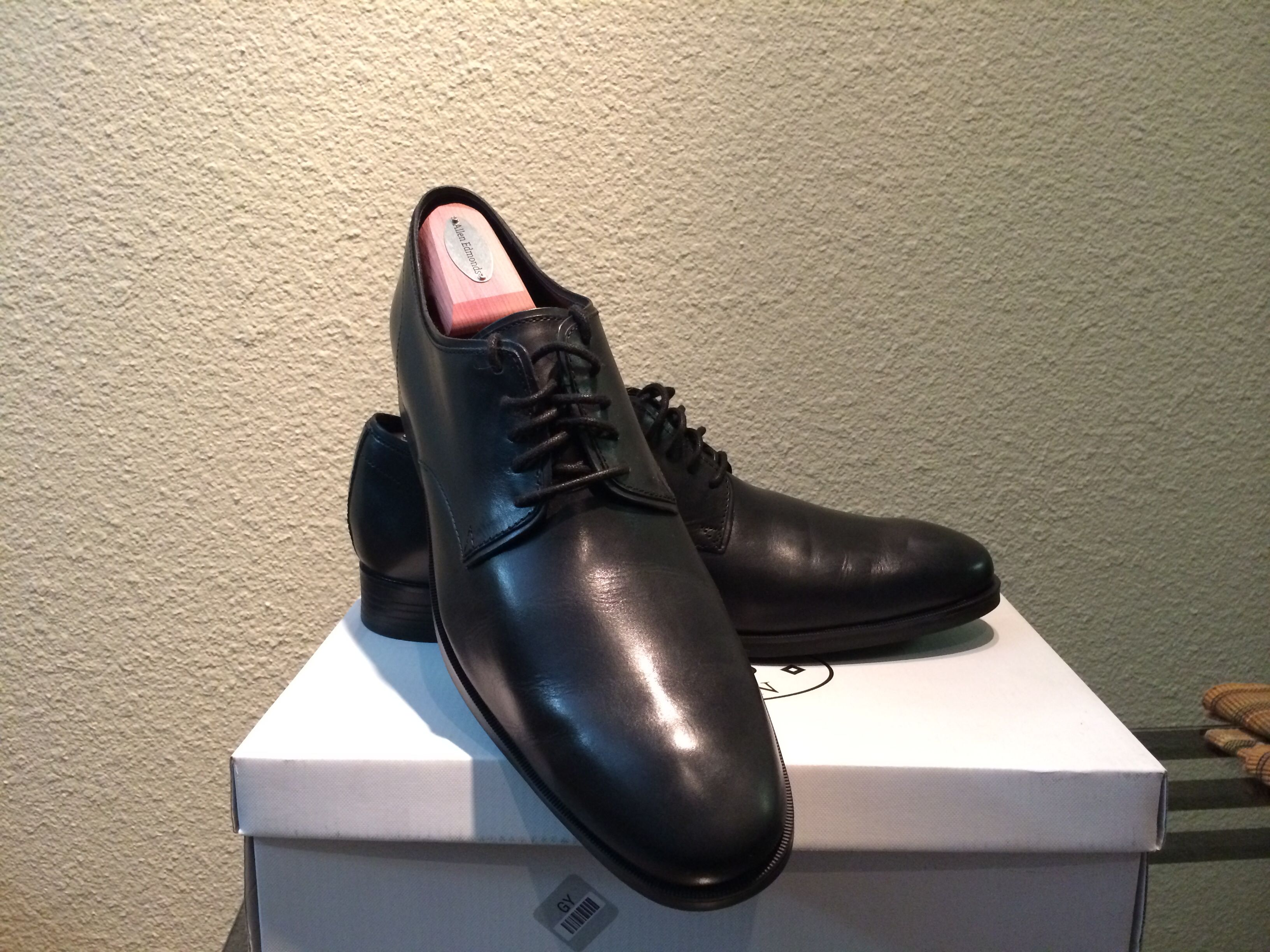 Current collection - cole haan Copley derby. Bigger fan of these on than not on.
