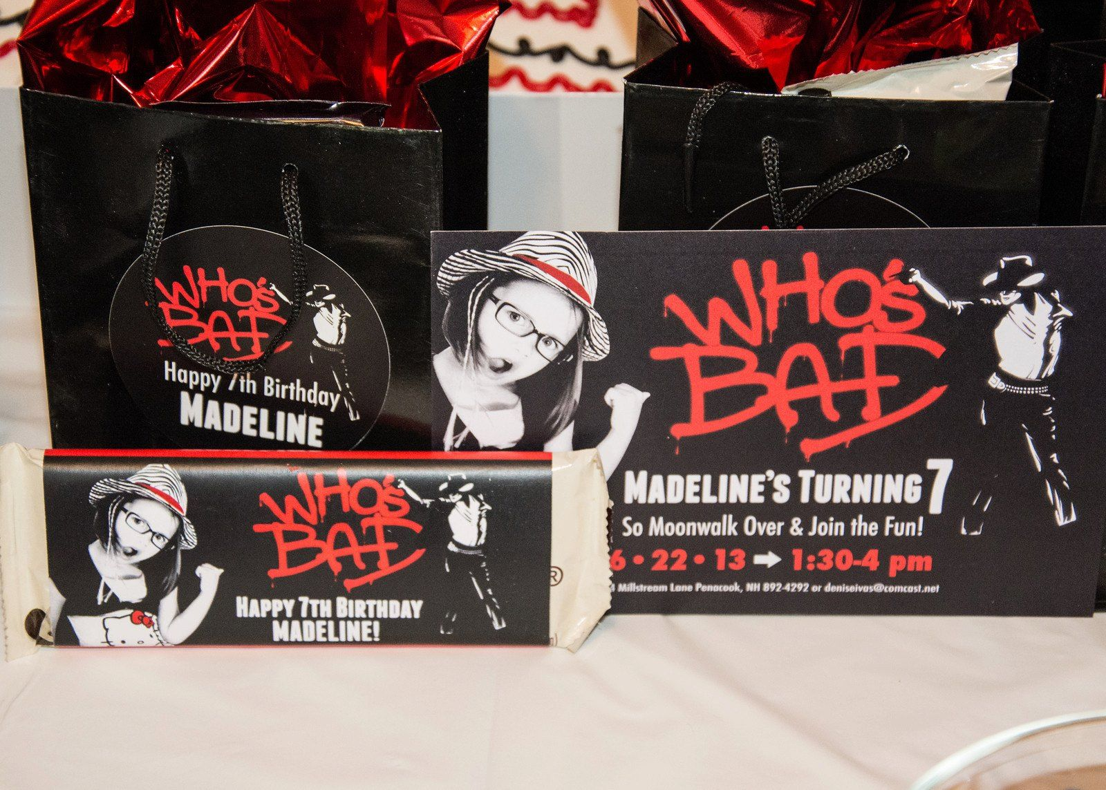 Michael Jackson Themed Birthday party invitations, good bags and ...