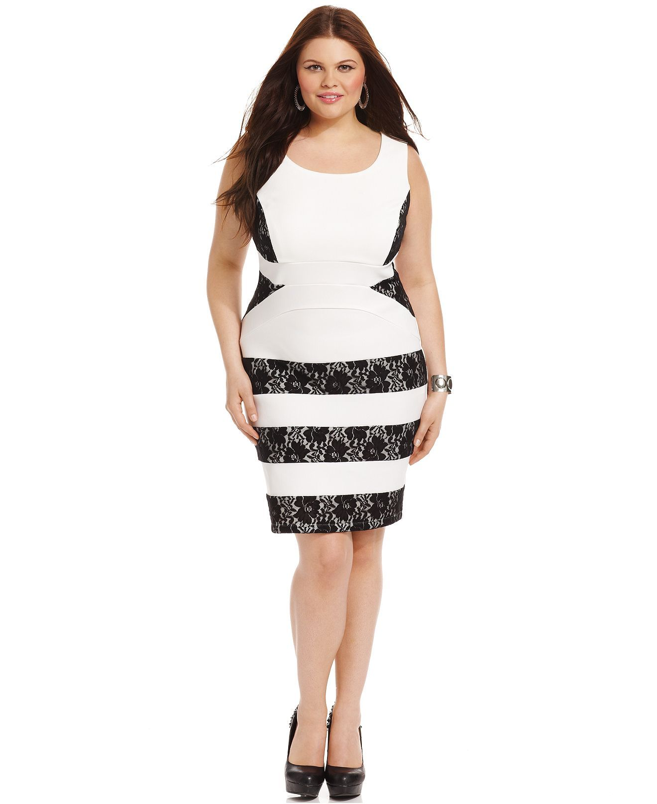 Ruby Rox Plus Size Dress, Sleeveless Lace Bandage - Junior Plus ...