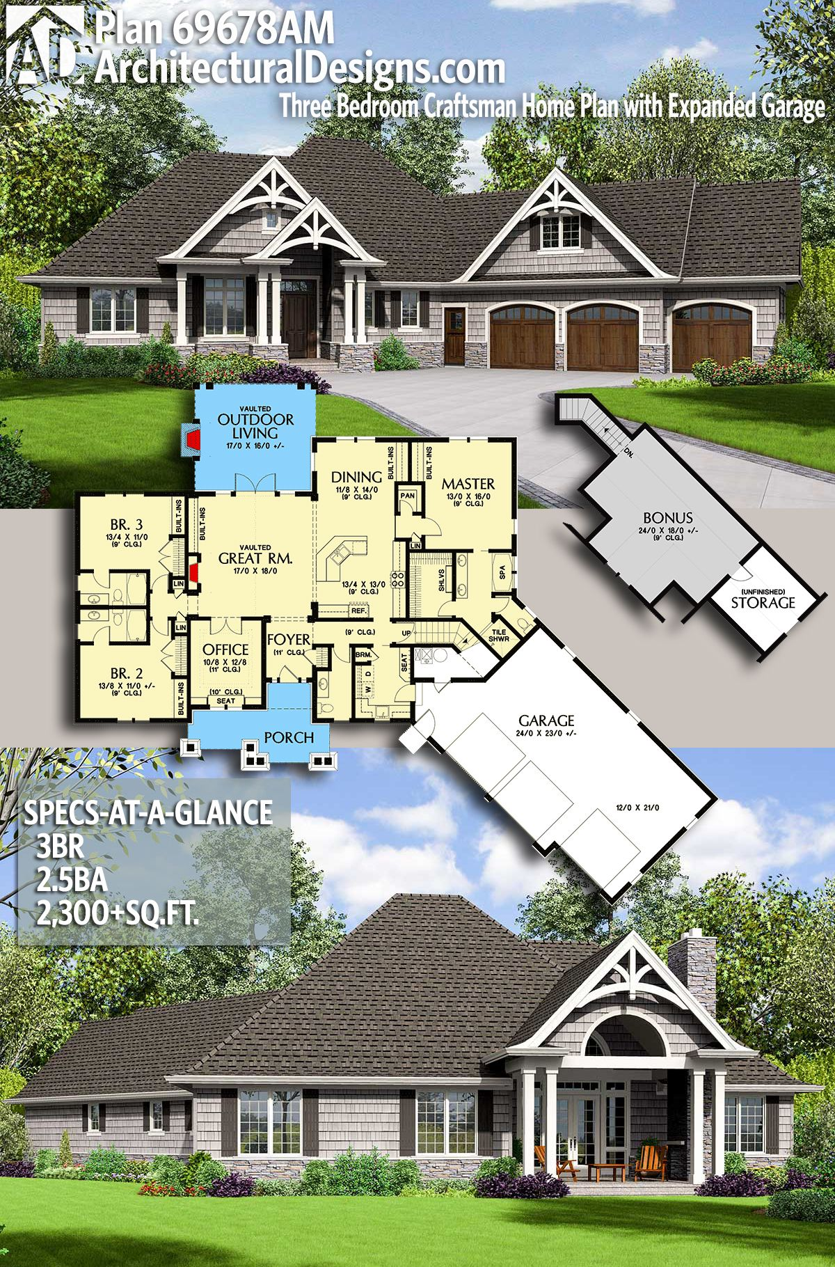 Plan 69678am Three Bedroom Craftsman Home Plan With Expanded Garage In 2021 Craftsman House Plans Craftsman Style House Plans Ranch House Plans
