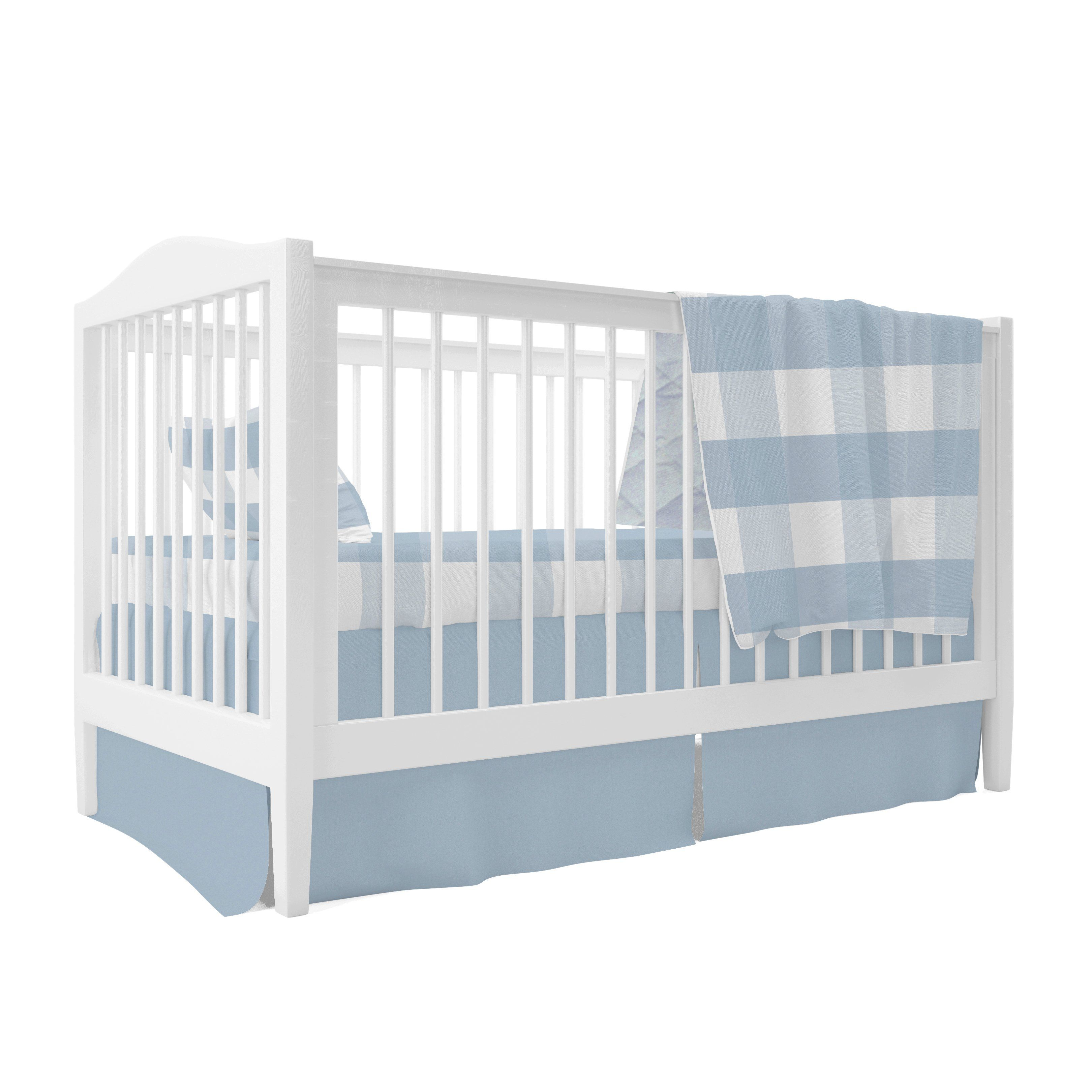 Baby Cradle Dimensions Four Piece Baby Crib Set I Dusty Blue Gingham Design