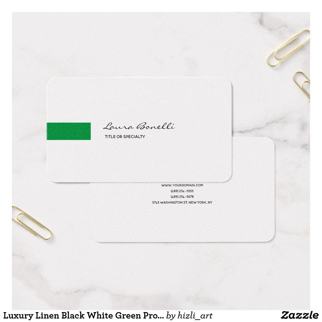 Luxury linen black white green professional modern business card luxury linen black white green professional modern business card reheart Image collections