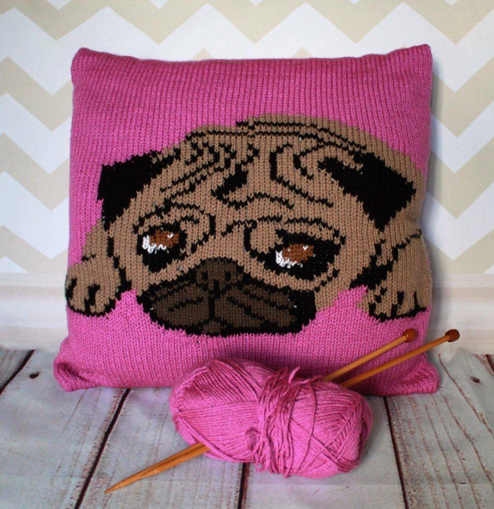 Pug pet portrait cushion cover knitting pattern double knitting pug pet portrait cushion cover knitting pattern bankloansurffo Choice Image