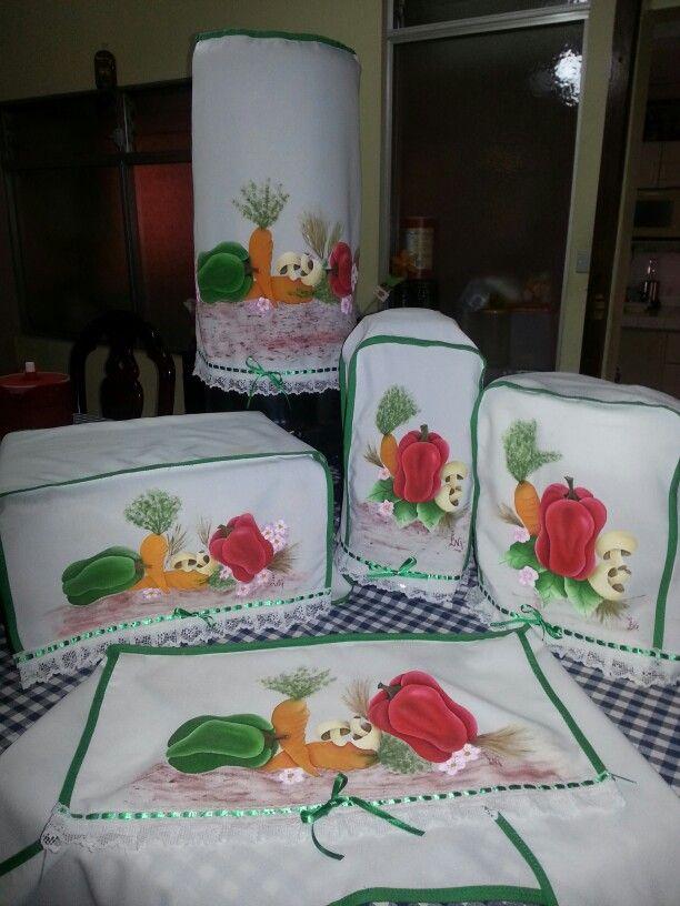 Cobertores de cocina pintados en tela mis trabajos en - Cojines pintados en tela ...