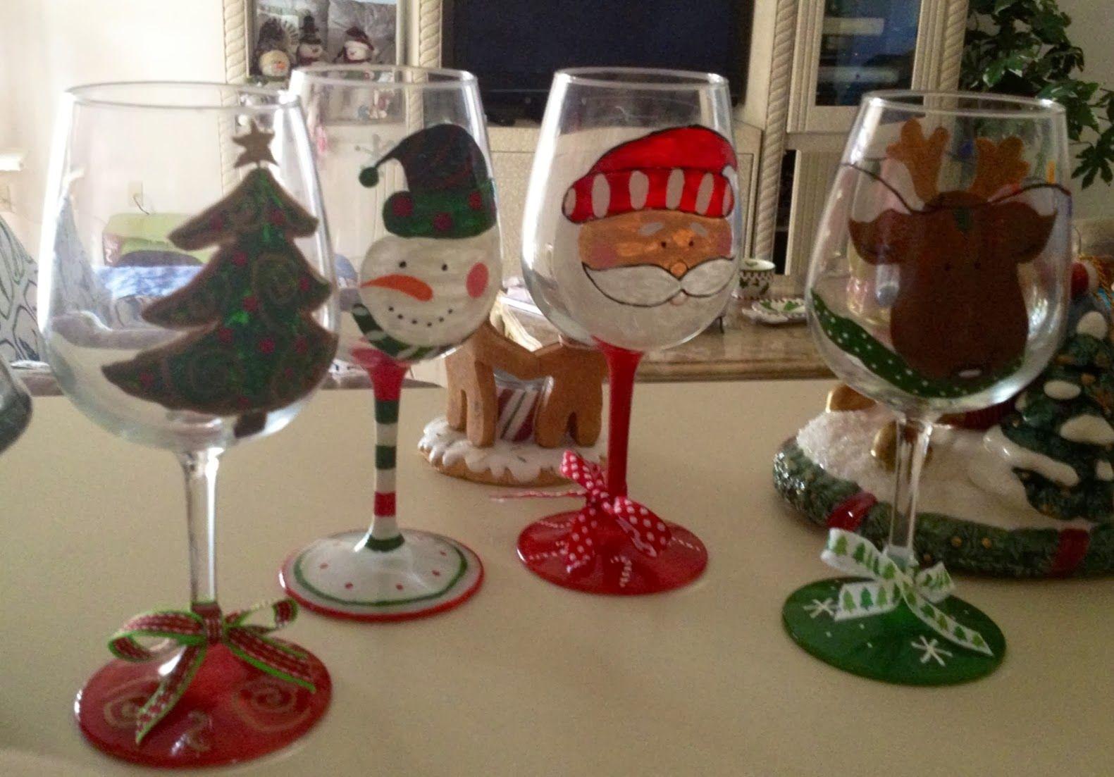 Adornos navide os copas decoradas copas de vino - Ideas adornos navidenos ...