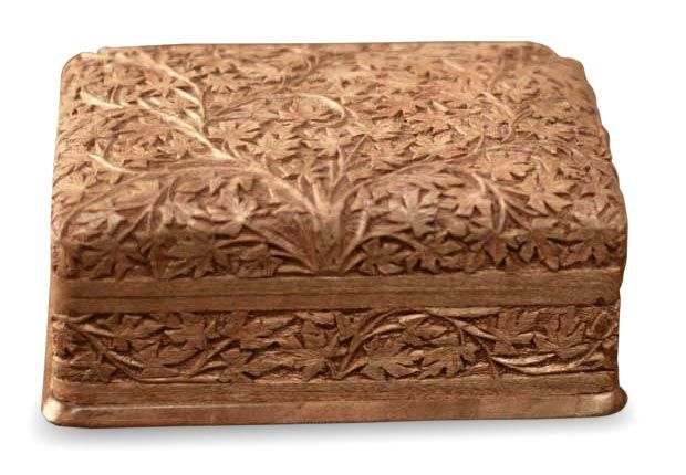 Artisan Hand Carved Wood Jewelry Box from India Wild Ivy Carved