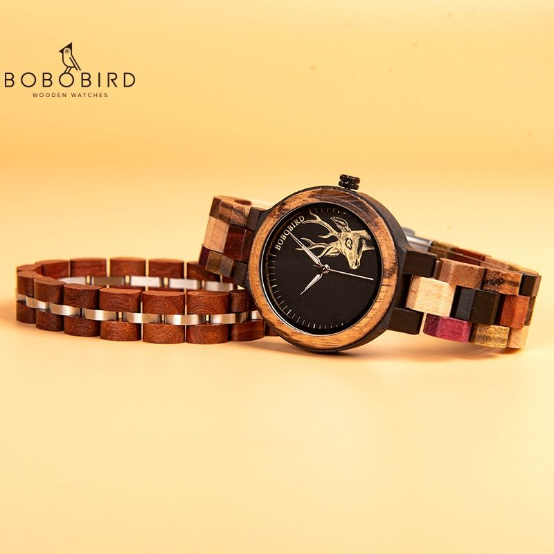 Bobo Bird Colorful Wood Women Watch With Bracelet Relogio Feminino Lady Quartz Wristwatch In Gift Box Bayan Kol Saati V P14 Dengan Gambar