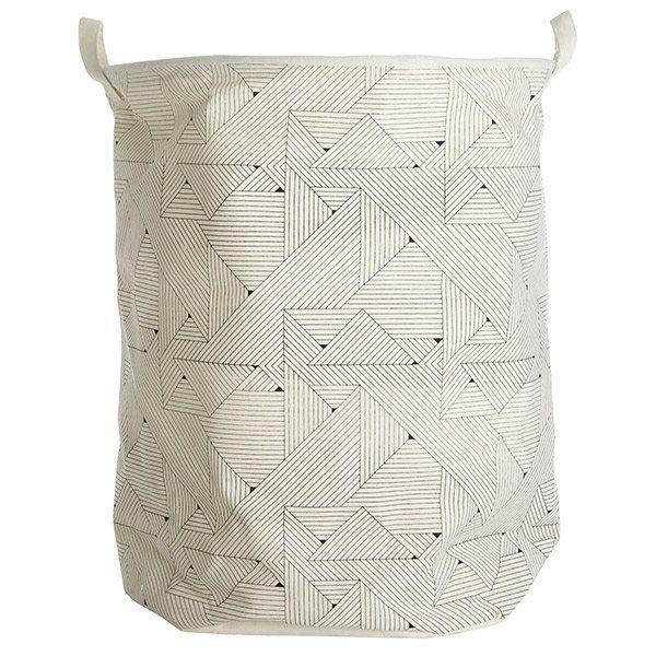 House Doctor vasketøjspose i stof. Grafisk Mønster.