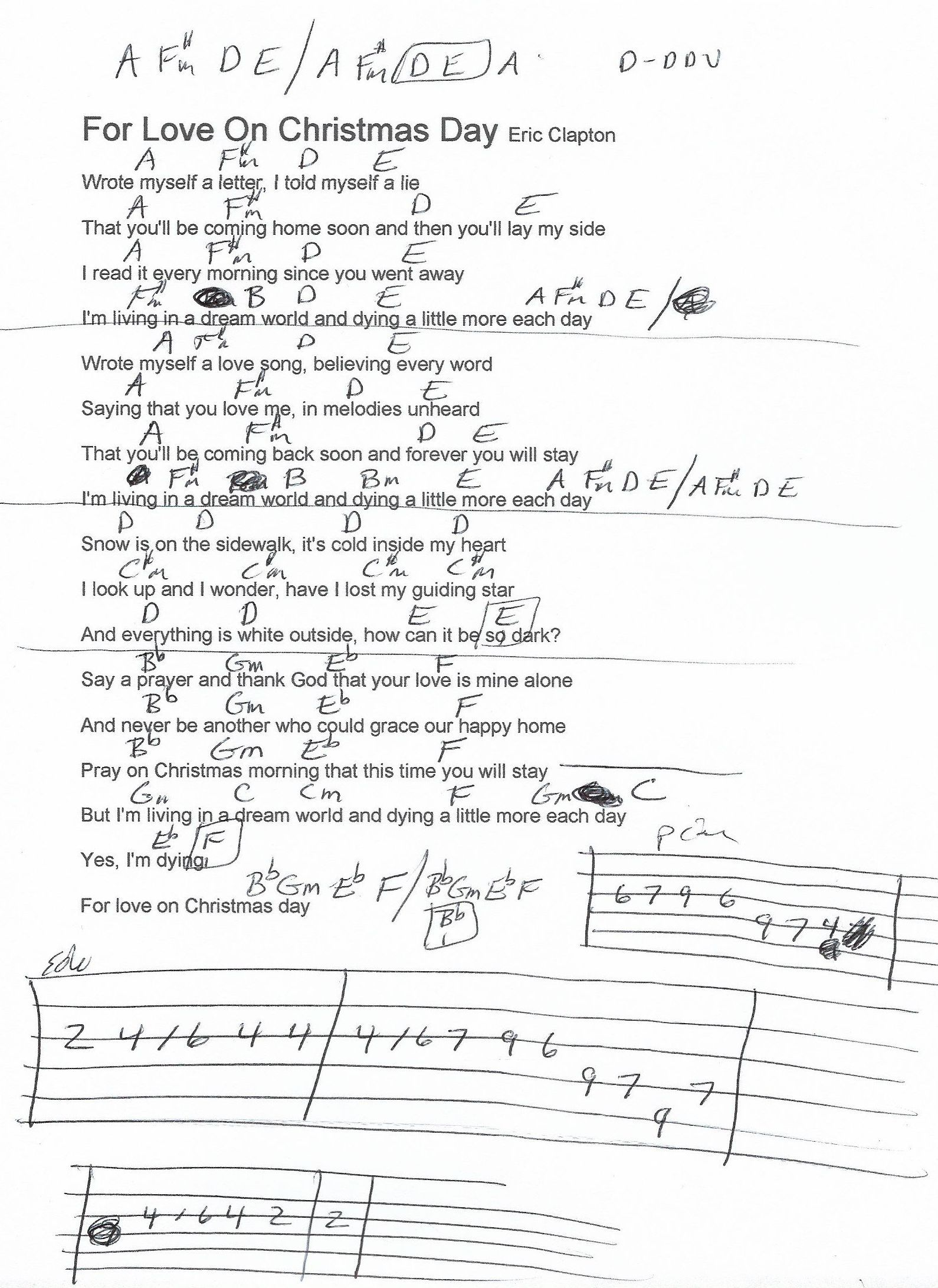 For Love on Christmas Day (Eric Clapton) Guitar Chord Chart   Eric clapton guitar, Guitar chord ...