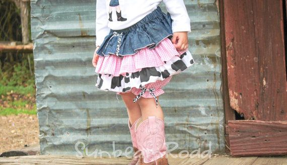 Girl's Cowgirl 3-Tiered Full Ruffle Cotton Western by SunbeamRoad