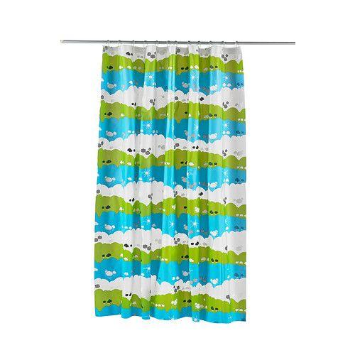 Ikea INGEBORG Light Blue Turquois Polyster Shower Curtain for Bathroom Bathtub