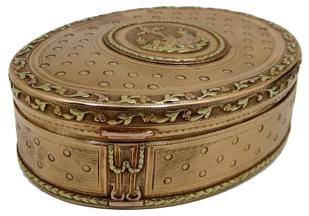 A Louis XVI Ca 1770 Three colors 18K Gold Snuff Box With original Case from fineandmint on Ruby Lane