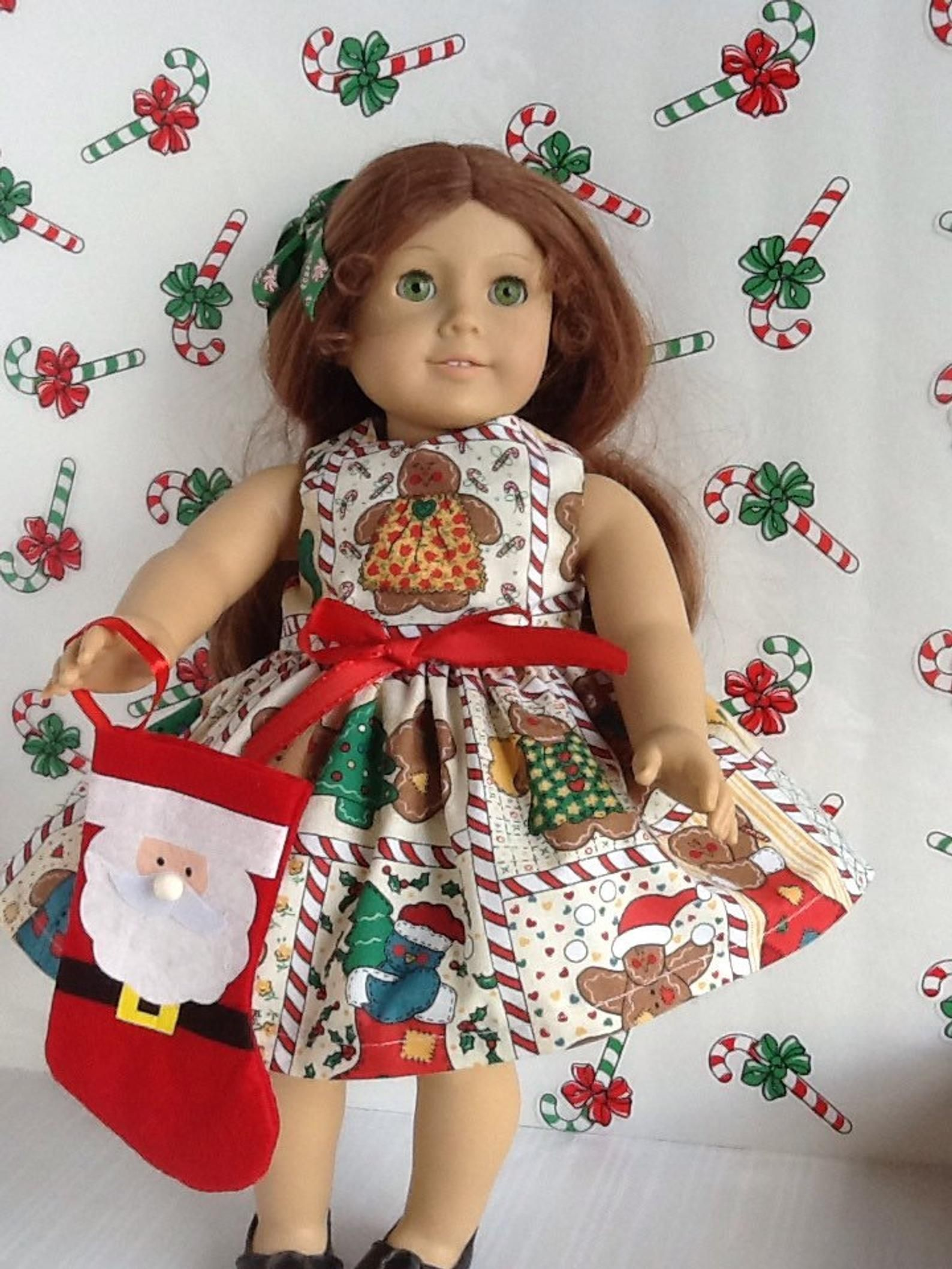 Christmas American Girl 18 inch Doll Dress Gingerbread and Candy Cane Print with Matching Bow ~FREE SHIPPING~ #18inchdollsandclothes