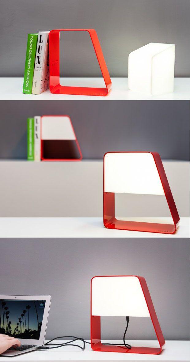 Removable Light Bookstand Usb Cable Ludovica Usb Powered Light By Andrea Zanocchi And Carolina Starke Table Lamp Design Pallet Decor Design Milk