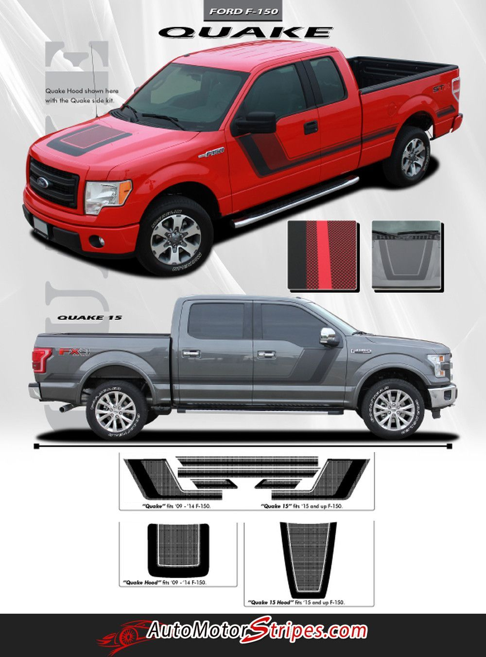 Vehicle specific style ford f 150 series truck quake combo hood and sides tremor fx style vinyl graphic stripe decals year fitment 2009 2010 2011 2012 2013