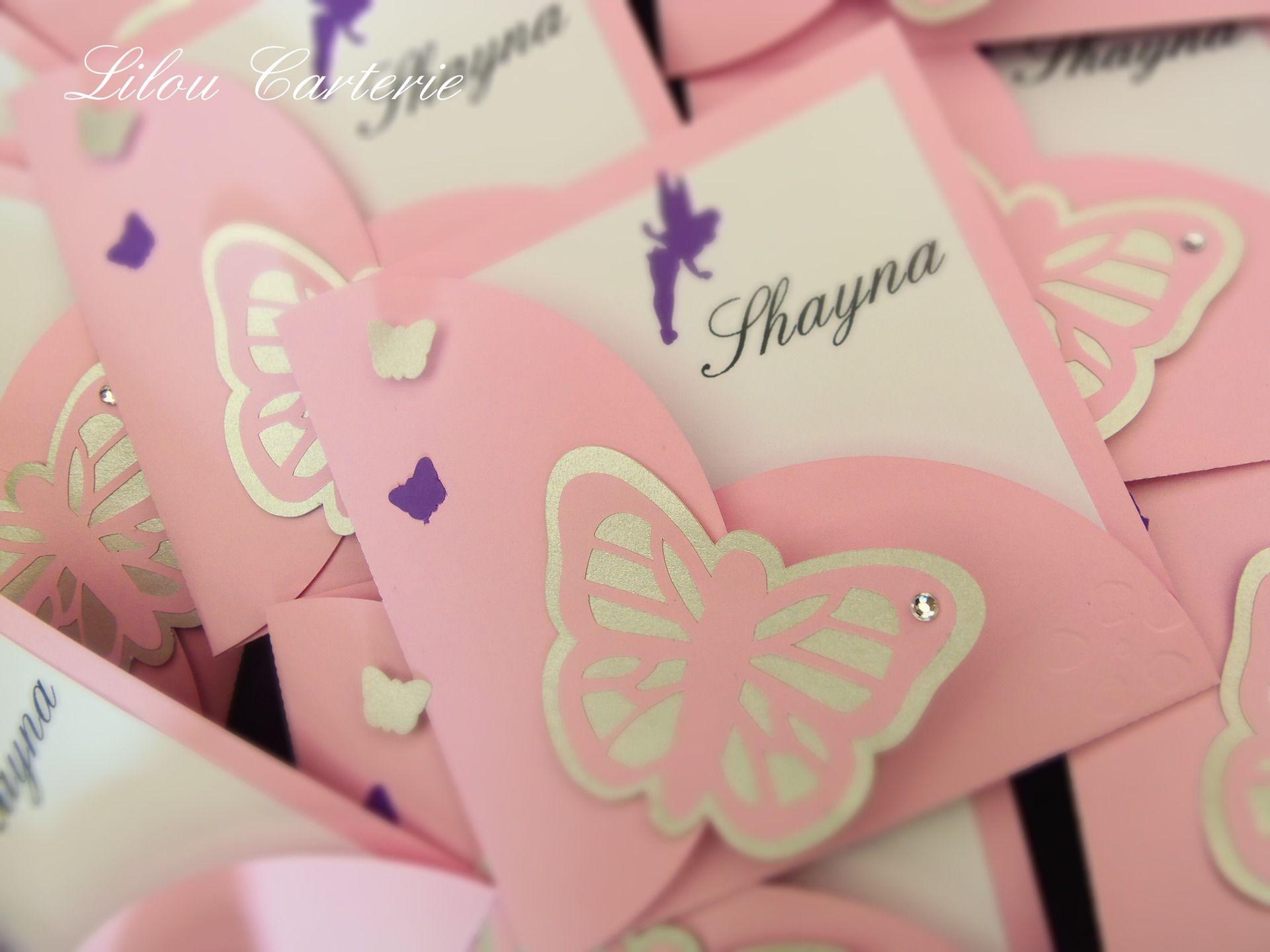 Bien-aimé Faire part original de bapteme ou naissance fille thème papillon  MF01