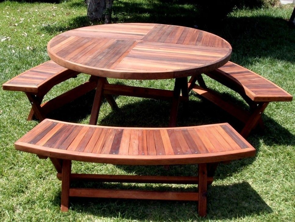 Outdoor Round Wooden Picnic Tables With Umbrella Hole And Detached Benches Ideas Round Patio Table Round Picnic Table Folding Picnic Table
