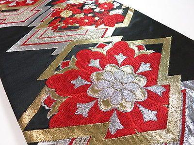 LM05z1150-Japanese-Kimono-Silk-FUKURO-OBI-Black-Flowers-157-5