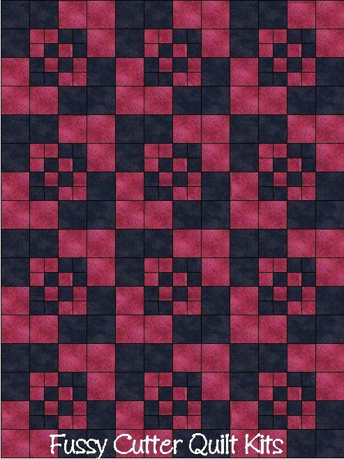 Amish Boxes Prim Patchwork Pattern Fuschia Pink Black