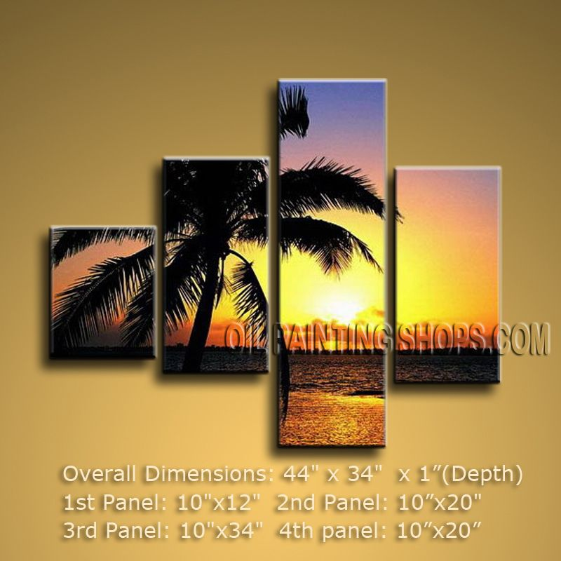 4 Pieces Contemporary Wall Art Seascape Painting Sunrise Scenery ...